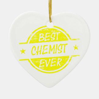 Bestes Chemiker-überhaupt Gelb Keramik Herz-Ornament