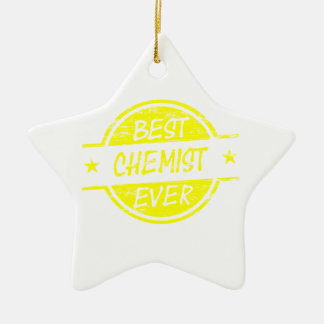 Bestes Chemiker-überhaupt Gelb Keramik Stern-Ornament
