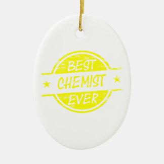 Bestes Chemiker-überhaupt Gelb Ovales Keramik Ornament