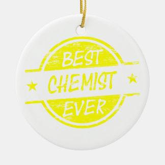 Bestes Chemiker-überhaupt Gelb Rundes Keramik Ornament