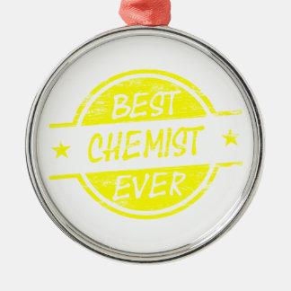 Bestes Chemiker-überhaupt Gelb Rundes Silberfarbenes Ornament