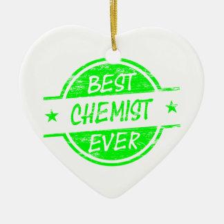 Bestes Chemiker-überhaupt Grün Keramik Herz-Ornament