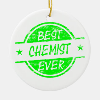 Bestes Chemiker-überhaupt Grün Rundes Keramik Ornament