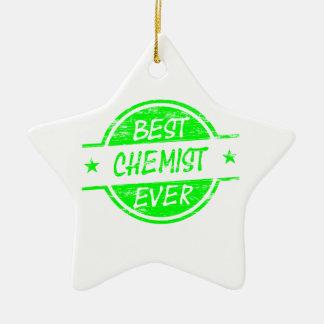 Bestes Chemiker-überhaupt Grün Keramik Stern-Ornament