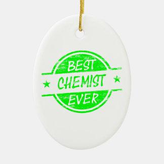 Bestes Chemiker-überhaupt Grün Ovales Keramik Ornament
