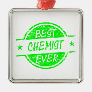 Bestes Chemiker-überhaupt Grün Quadratisches Silberfarbenes Ornament