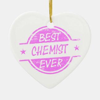Bestes Chemiker-überhaupt Rosa Keramik Herz-Ornament