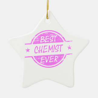 Bestes Chemiker-überhaupt Rosa Keramik Stern-Ornament
