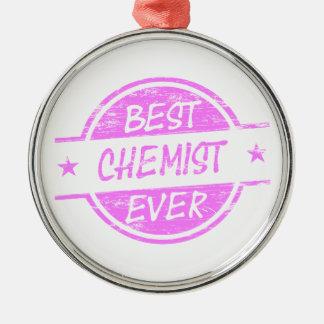Bestes Chemiker-überhaupt Rosa Rundes Silberfarbenes Ornament