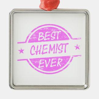 Bestes Chemiker-überhaupt Rosa Quadratisches Silberfarbenes Ornament