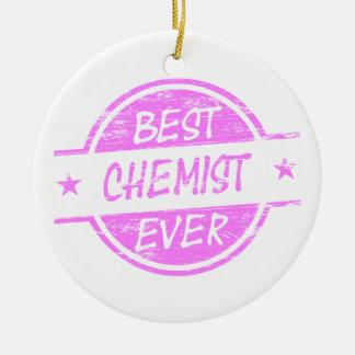 Bestes Chemiker-überhaupt Rosa Rundes Keramik Ornament