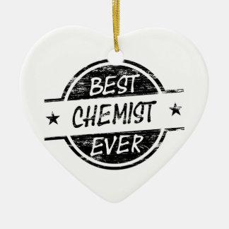 Bestes Chemiker-überhaupt Schwarzes Keramik Herz-Ornament