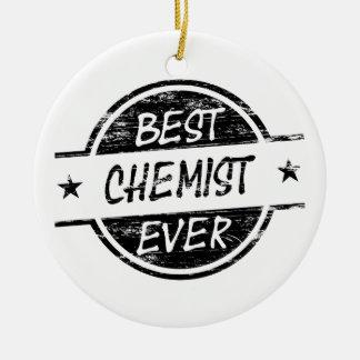 Bestes Chemiker-überhaupt Schwarzes Rundes Keramik Ornament