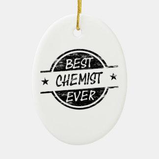 Bestes Chemiker-überhaupt Schwarzes Ovales Keramik Ornament