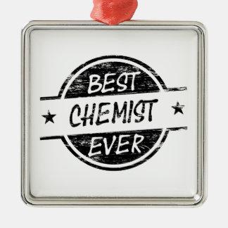 Bestes Chemiker-überhaupt Schwarzes Quadratisches Silberfarbenes Ornament