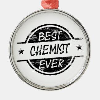 Bestes Chemiker-überhaupt Schwarzes Rundes Silberfarbenes Ornament
