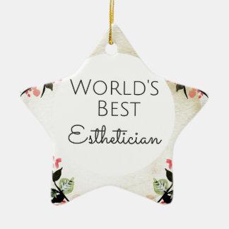Bestes Estheticiangeschenk 2 der Welt Keramik Stern-Ornament