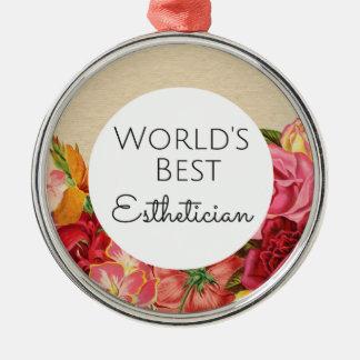 Bestes Estheticiangeschenk der Welt Rundes Silberfarbenes Ornament