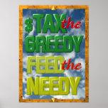 Besteuern Sie das gierige füttern das bedürftige Poster