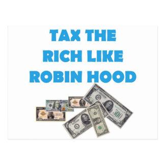 Besteuern Sie die Reichen wie Robin Hood - Occupy Postkarte