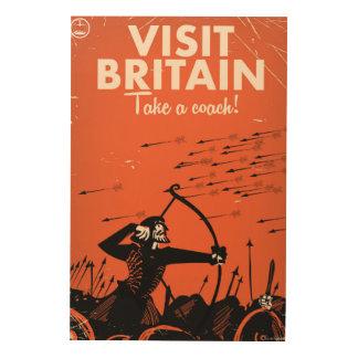 """Besuch Großbritannien Vintages Reiseplakat """"nehmen Holzdruck"""