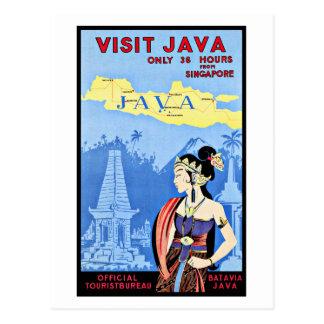 Besuch Java Indonesien von Singapur Vintag Postkarte