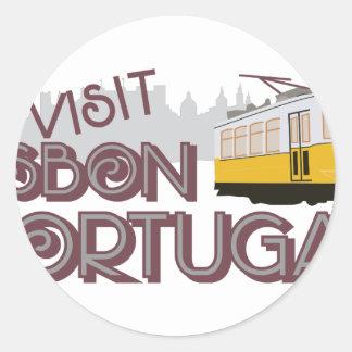 Besuch Lissabon Portugal Runder Aufkleber