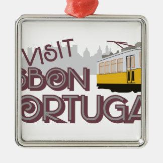 Besuch Lissabon Portugal Silbernes Ornament