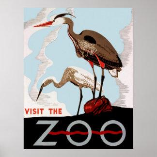 Besuchen Sie das Vintage Plakat des Zoo-WPA