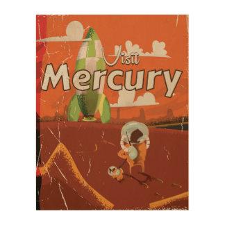 Besuchen Sie den Planetmercury-Vintagen Cartoon Holzleinwand
