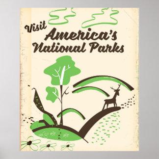 Besuchs-Amerikas Vintages Plakat Nationalparks