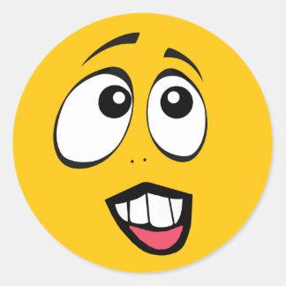 Beteiligtes gelbes Emoji Runder Aufkleber