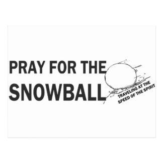 Beten Sie für das Schneeball Fahrwerk Postkarte