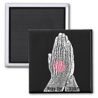 Beten Sie für Japan - Gebets-Flagge Quadratischer Magnet