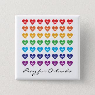 Beten Sie für Orlando ein Impuls-Regenbogen-Herz Quadratischer Button 5,1 Cm