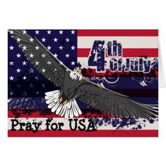 Beten Sie für USA - 4. der Juli-Gruß-Karte Grußkarte