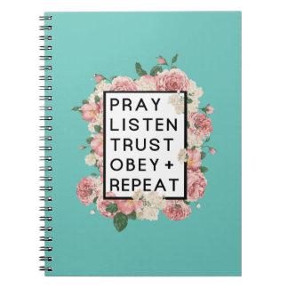 Beten Sie hören Vertrauen befolgen Notizblock