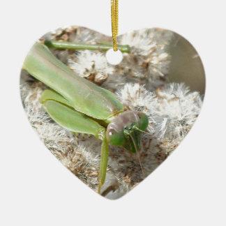betender Mantis Keramik Herz-Ornament