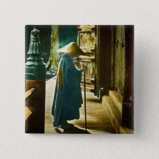 Betender Priester in alter Vintager magischer Quadratischer Button 5,1 Cm