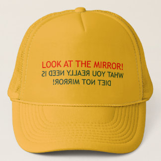 Betrachten Sie den Spiegel-Fernlastfahrer-Hut Truckerkappe