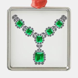 Betrachten Sie mich Smaragdhalskette Quadratisches Silberfarbenes Ornament