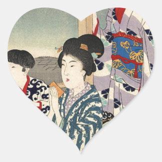 Betrachtung von einem Balkon durch Toyohara Herz-Aufkleber