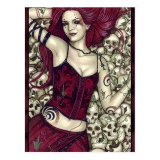 Bett der Schädel-Postkarte Postkarten