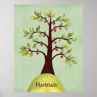 Bett-Raum-Natur-Herz-Baum-Kinderzimmer-Wand-Plakat