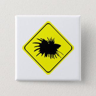 Betta Warnzeichen-Liebe-siamesische kämpfende Quadratischer Button 5,1 Cm
