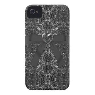 Beugen Sie u Juwel-Herz-Silber u schwarzer iPhon iPhone 4 Case-Mate Hülle