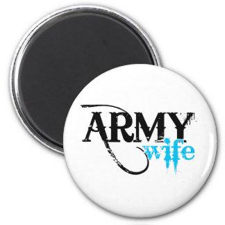 Beunruhigt, Armee-Ehefrau beschriftend Runder Magnet 5,1 Cm