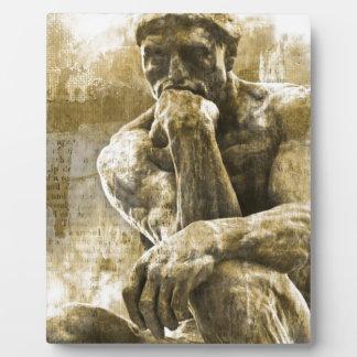 Beunruhigte Bronzestatue Auguste Rodin der Denker Fotoplatte