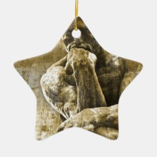 Beunruhigte Bronzestatue Auguste Rodin der Denker Keramik Stern-Ornament