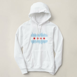 Beunruhigte Chicago-Skyline-Flagge Hoodie